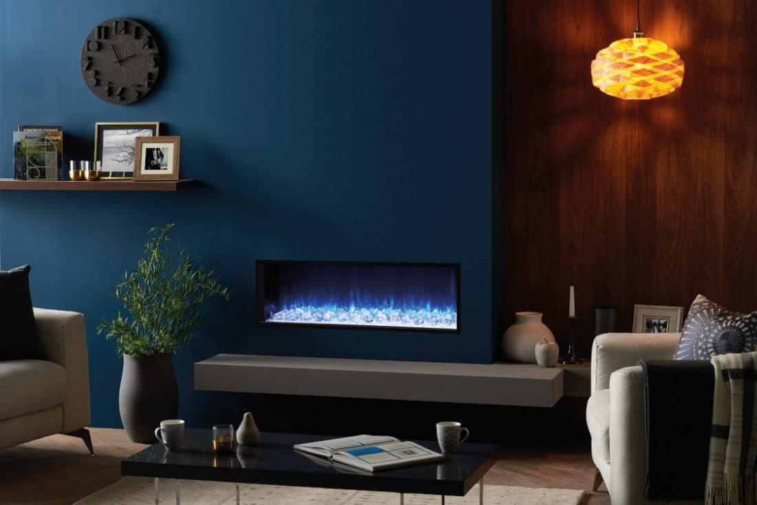 Zwarte inbouwhaard met blauw vuur