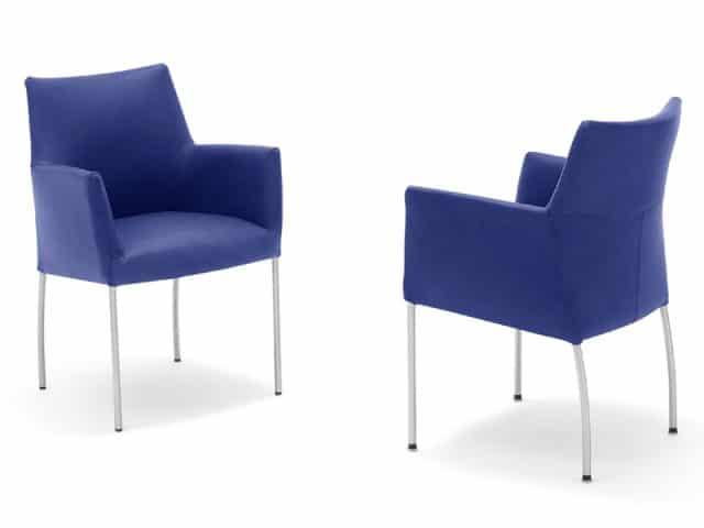 Invito Design Eetkamerstoel Op Poten Blauw Leer 1