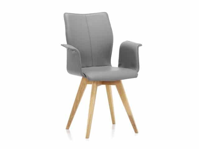Spin Ga Design Dining Chair Legs Wood Leather Gray