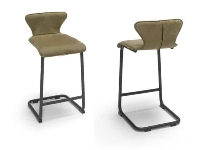 Design Bar stool Leather Green Luna Brees New World