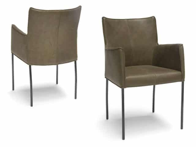 Design Dining Chair With Armrests Leather Green
