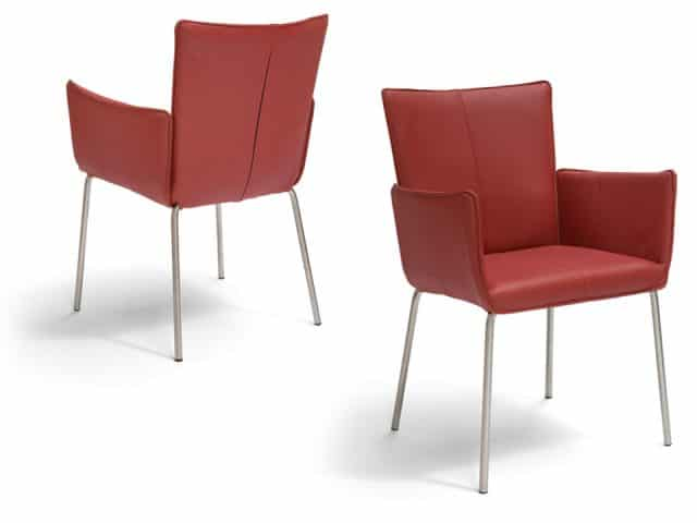 Design Dining Chair With Armrests Leather Red Gaucho Brees New World