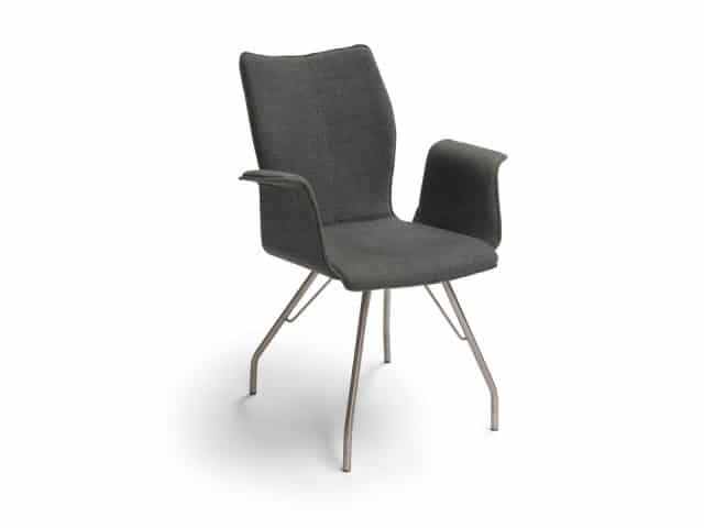 Design Chair With Armrests Dining Chair Fabric Gray Diamond Ii Ga