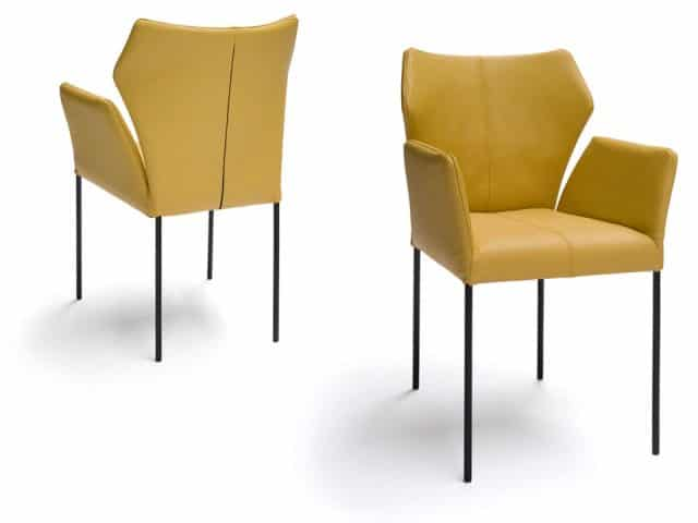 Dining Chair With Armrests Yellow Leather Black Legs Fly