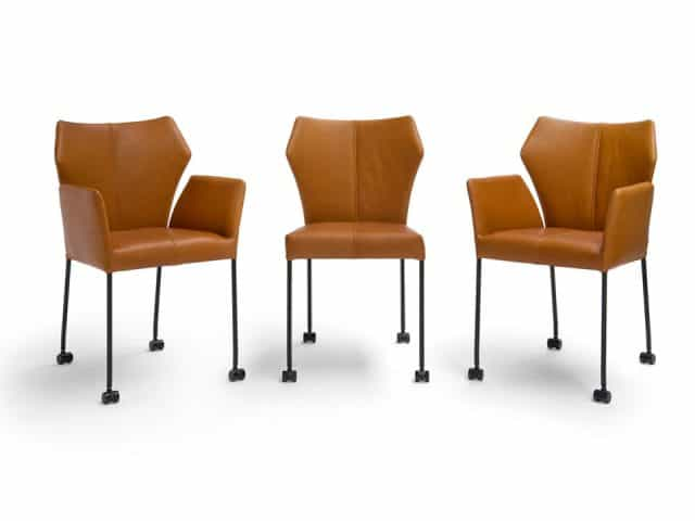 Fly Dining Chairs Cognac Leather On Wheels Breesnewworld