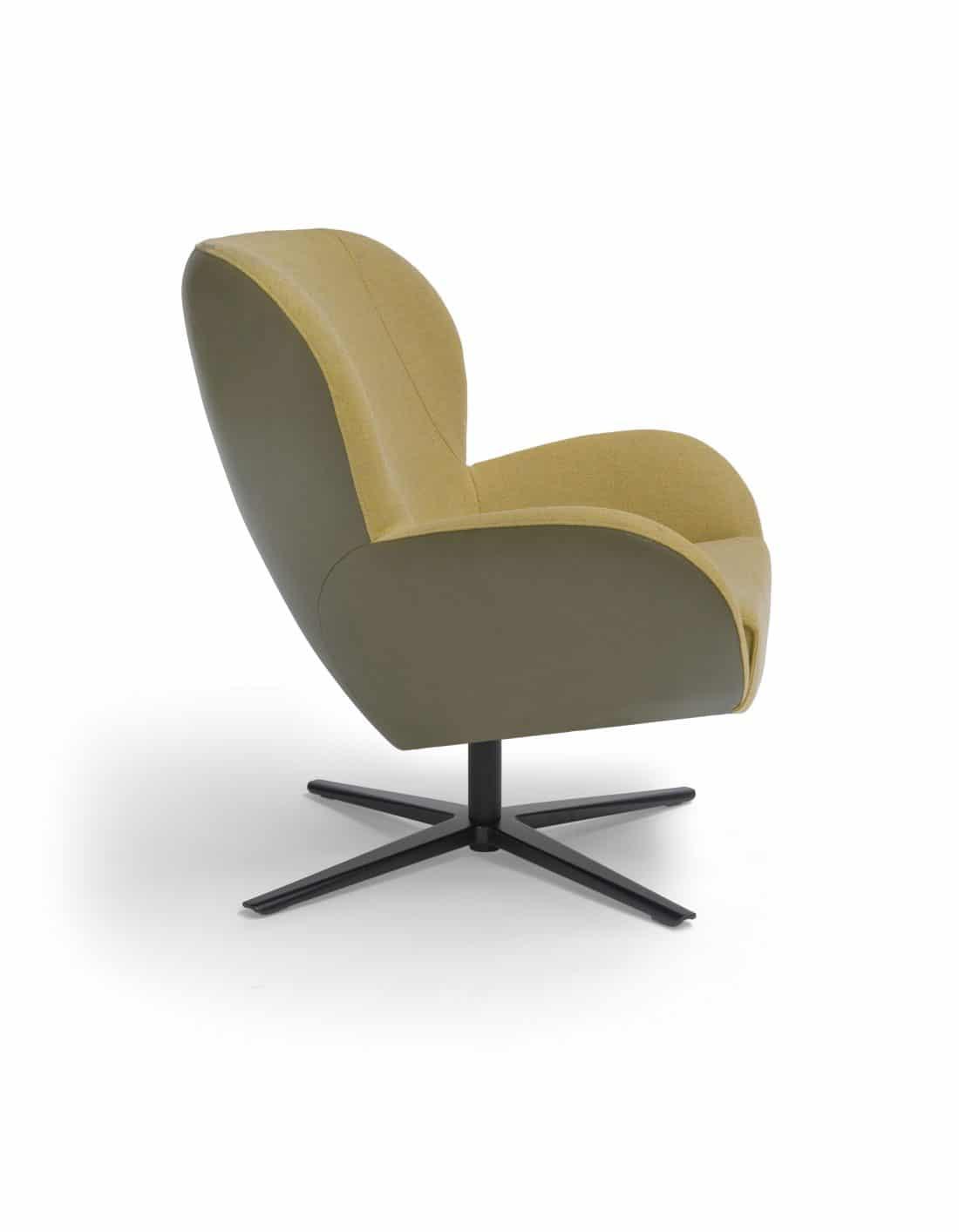 Legendary Draaifauteuil Leder Lucca Pine Stof Ploegwool Geel Design Fauteuil Scaled