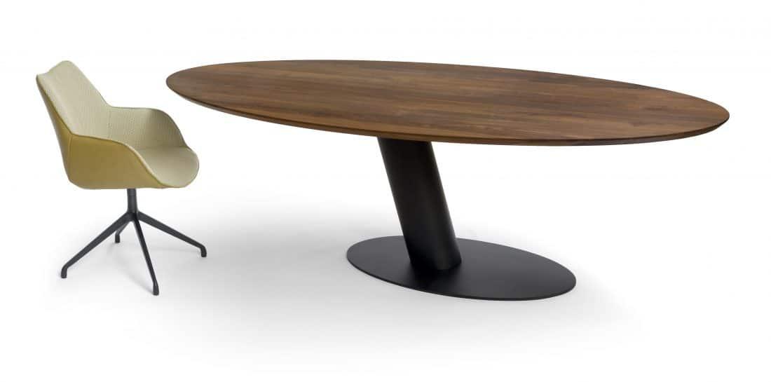 Libra Dining table Oval Walnut Kiq Arm Dining chair Rotatable Scaled