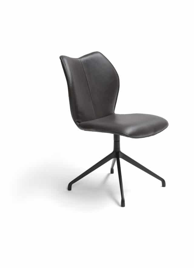 Kiq Swivel Dining Chair Without Armrests Black Legs Brown Leather Scaled