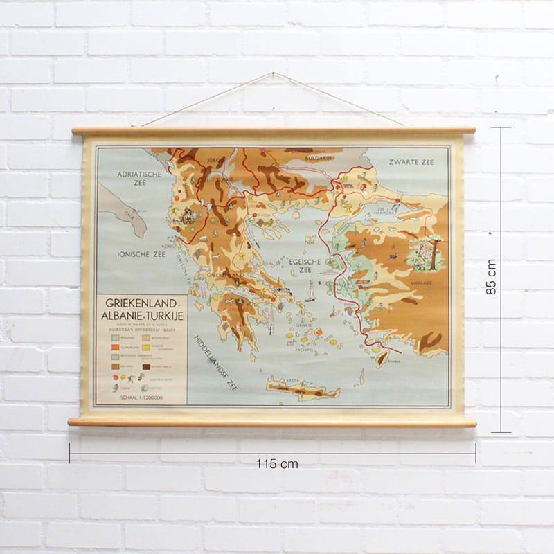 Landkaart Griekenland Albani Turkije
