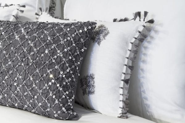 Deco Cushion - Shirred Charcoal