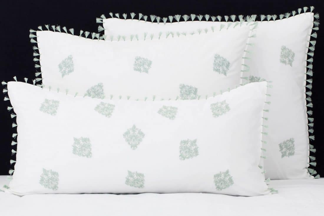 """Set Pillow Covers """"Mix and Match Tassels Jade"""""""