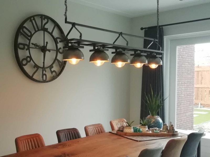 Industrial dining table lamp gray shades