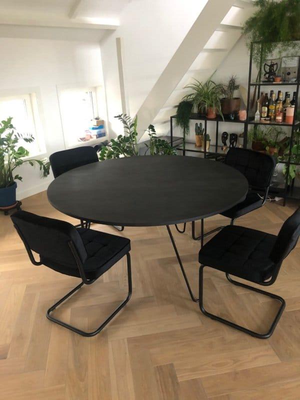 zwarte ronde tafel zwart onderstel