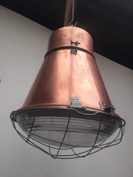 Industriële kooilamp van koper
