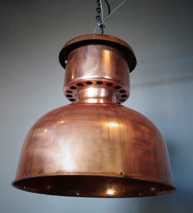 Industriële koperen eettafel lamp