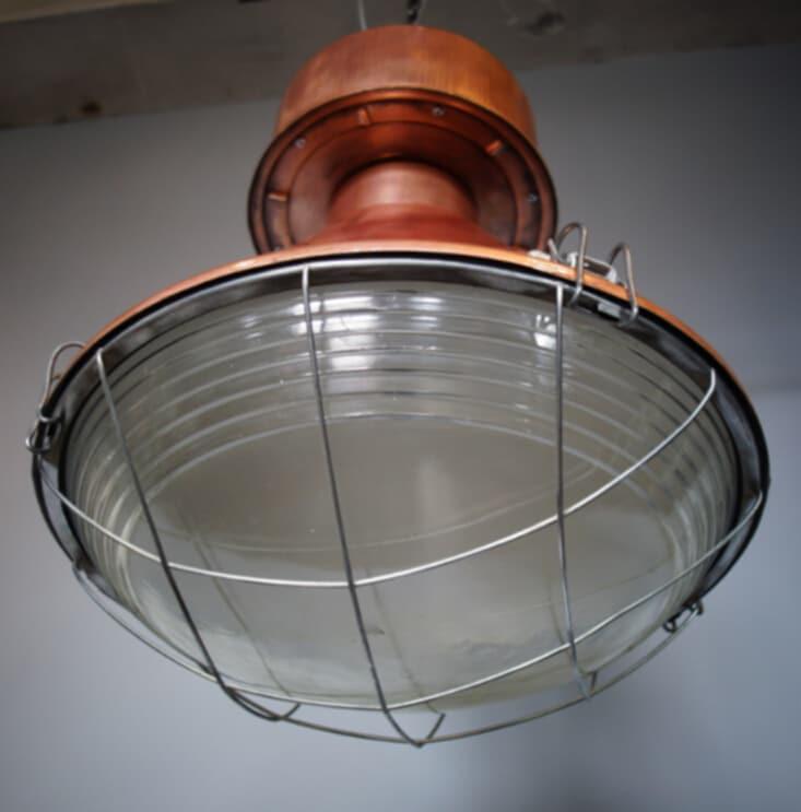 Koperen industriële kooilamp