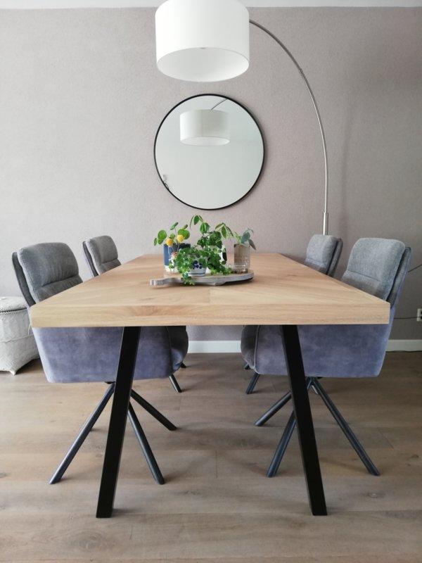 Herringbone oak table Osla with A-frame