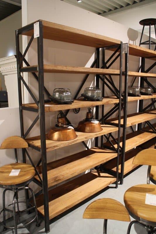 Industrial bookcase Gdansk side view 6 shelves black metal frame