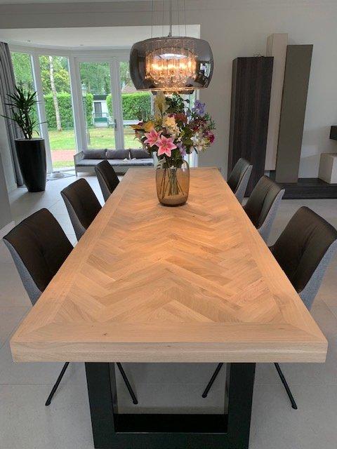 Herringbone oak table Mosina with U-frame