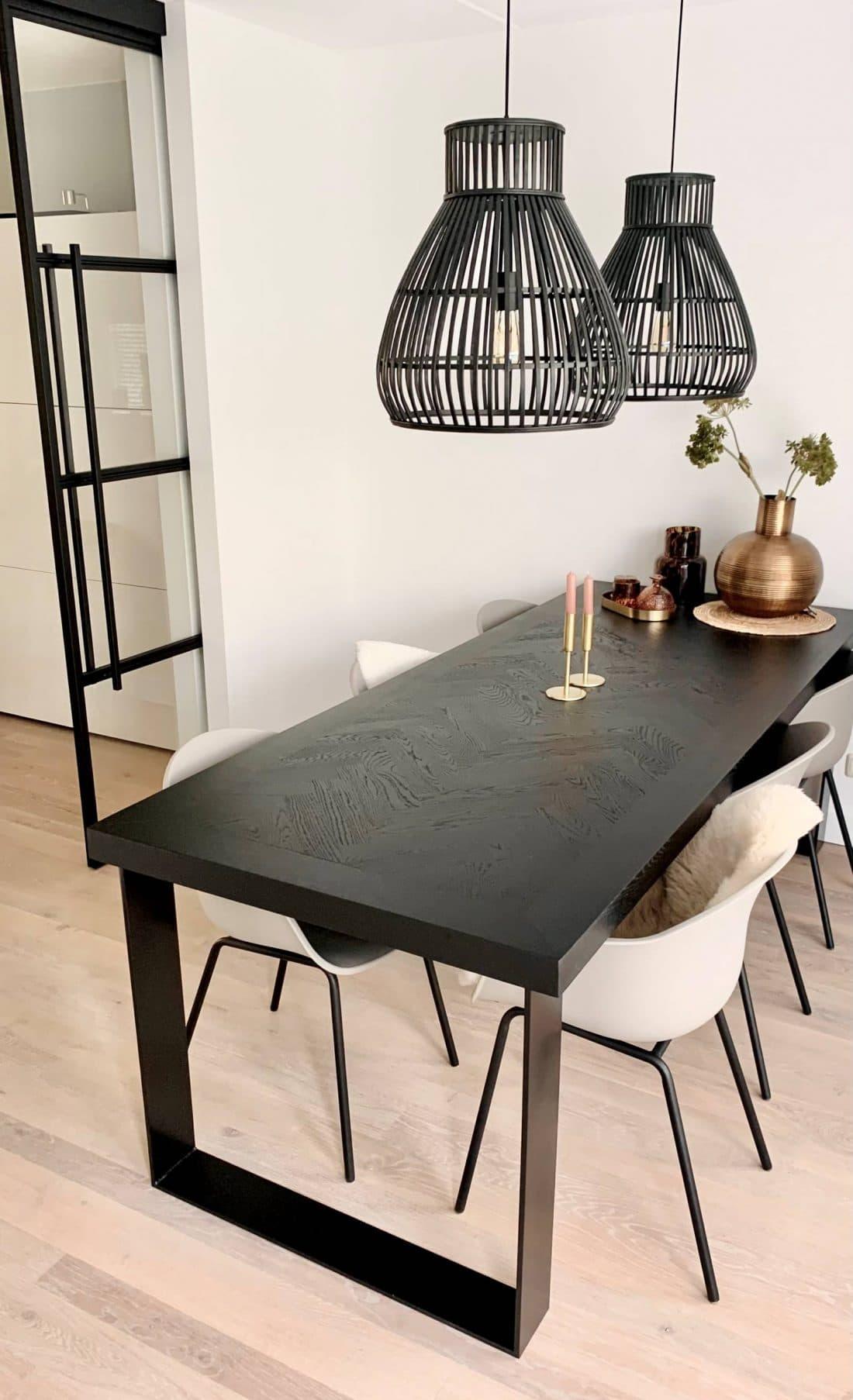 black oak herringbone table