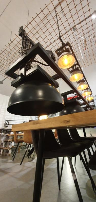 Industrial hanging lamp with 6 hemispheres
