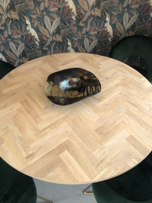 Ronde visgraat tafelblad Lawica