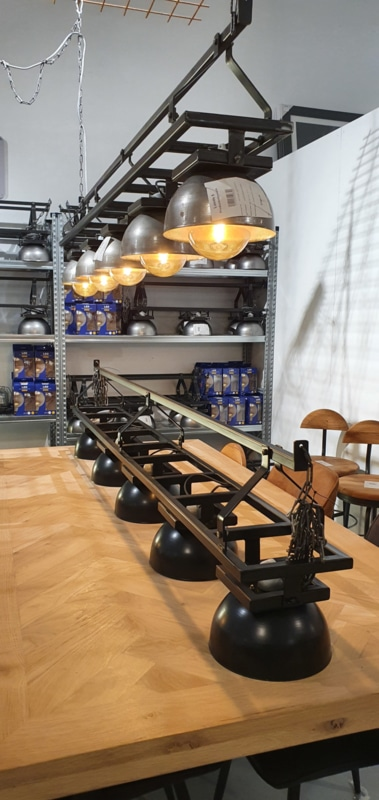 Cool industrial lamps on rails
