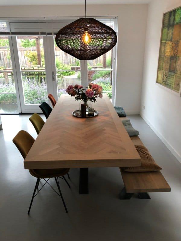 Herringbone oak table Mosina with matrix base