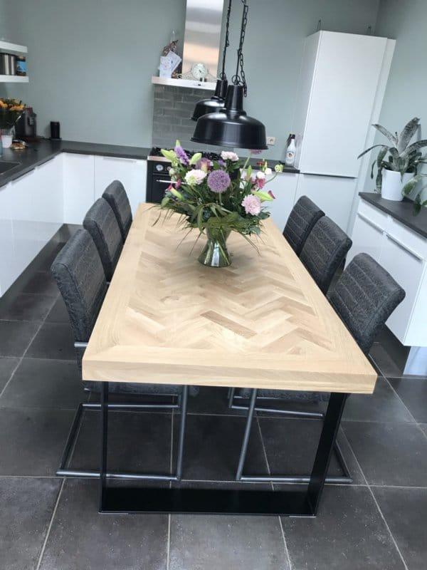 Herringbone oak table Mosina square with U-frame