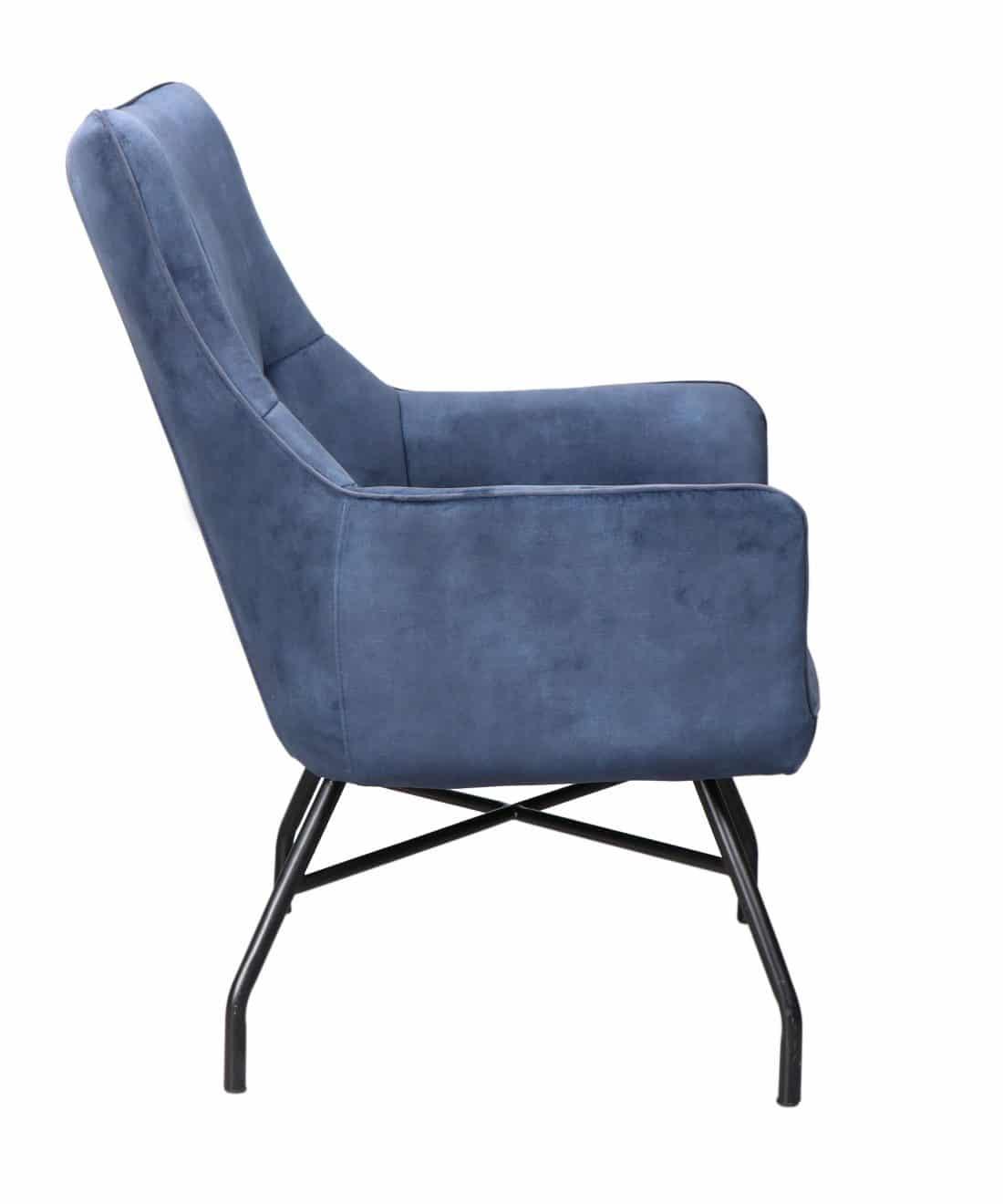 Andorra Fauteuil Bleu Velvet