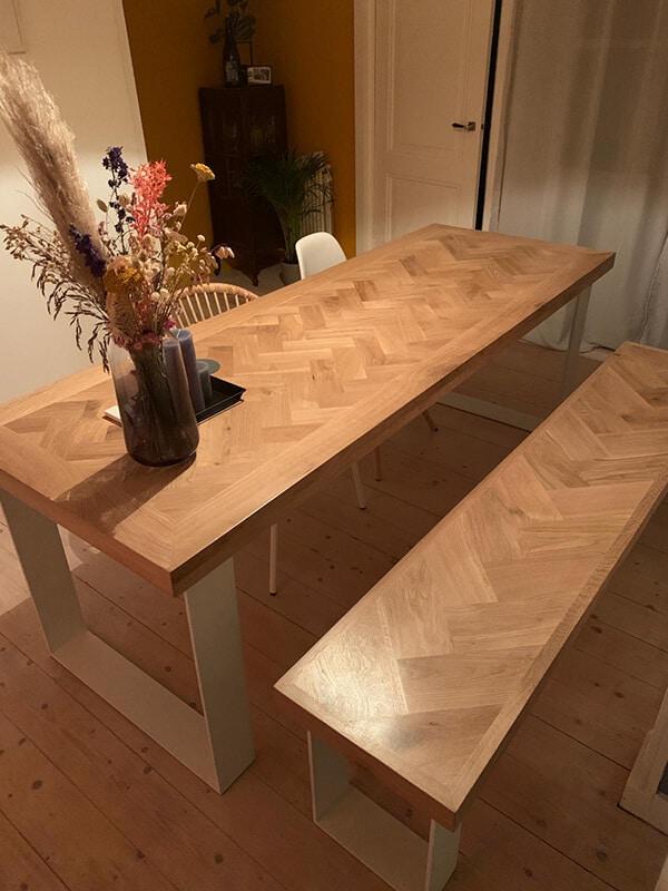 Fischgrät Eiche Versailles Tisch 6 oder 8cm stark inkl U-Gestell 12x1cm
