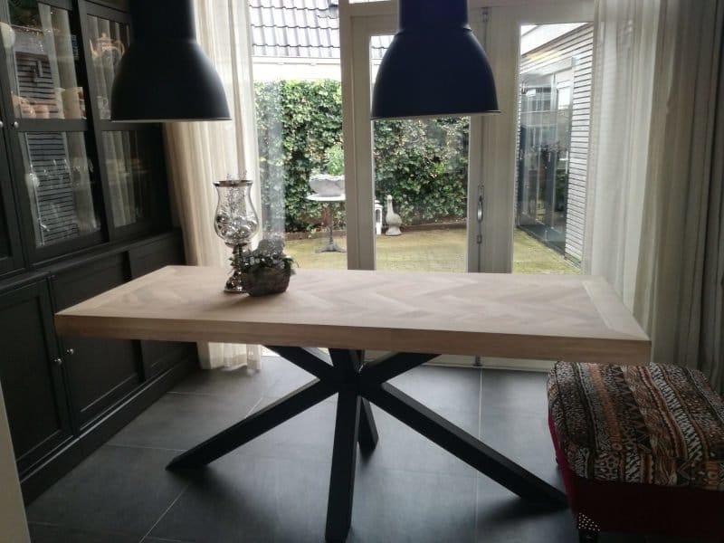Herringbone oak table Mosina square with matrix base