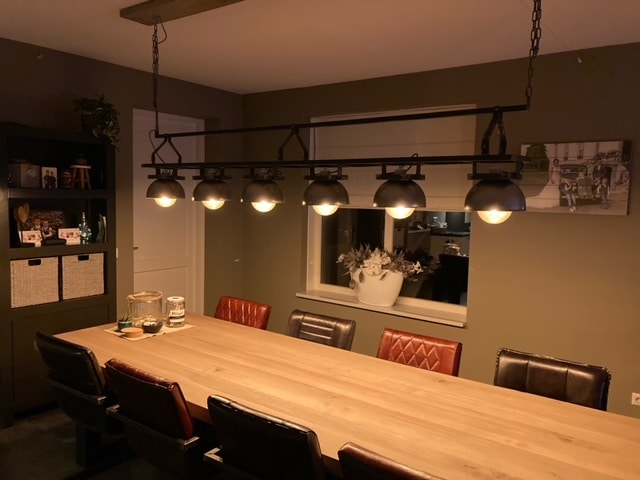 Dining table extra long with long industrial lamp with bulbs