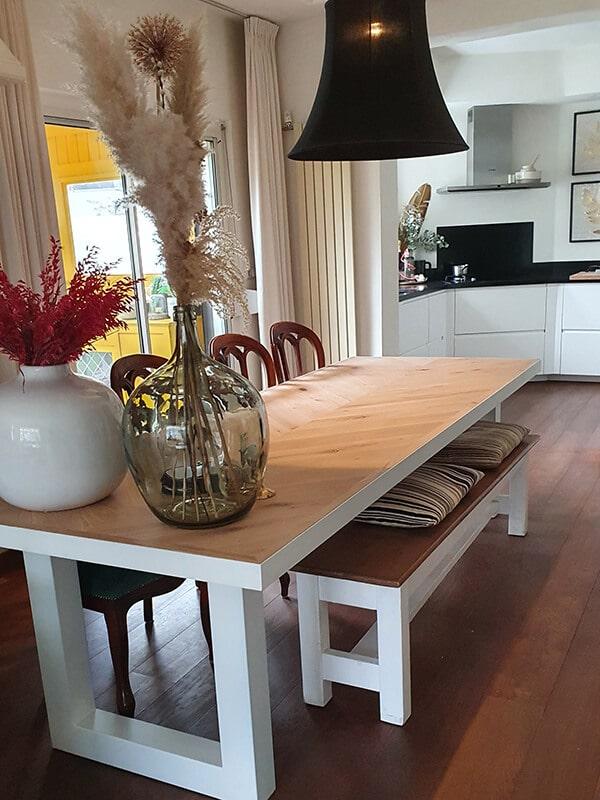 Herringbone oak Mosina table with U-frame 12x1cm or 12x4cm