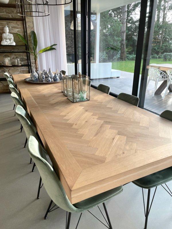 Herringbone oak table incl X base of your choice