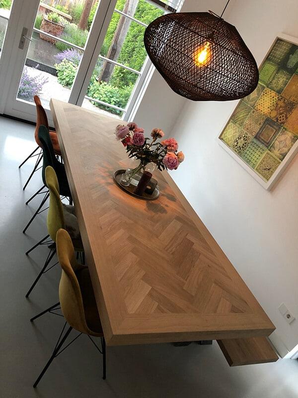 Osla Tisch aus Fischgrät-Eiche 6 oder 8 cm stark inkl Matrix-Untergestell nach Wahl
