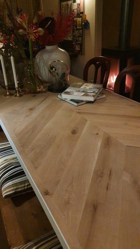 Visgraat eiken tafel Oslamet U-onderstel 12x1 of 12x4