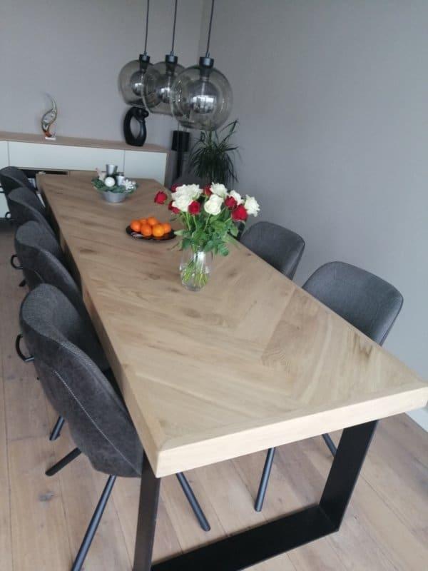 Herringbone oak table Osla with U-frame 12x1 or 12x4