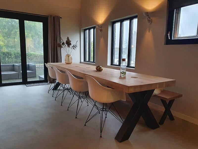 Eiken tafel Rewa X met dubbele rand 6 of 8cm