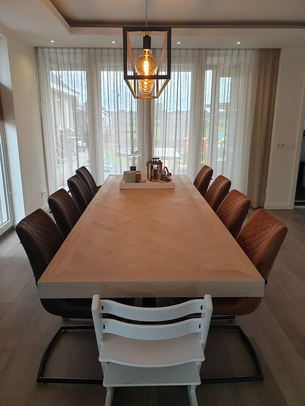 Fischgrät Eiche Versailles Tisch 6 oder 8 cm stark inkl Matrix Untergestell nach Wahl