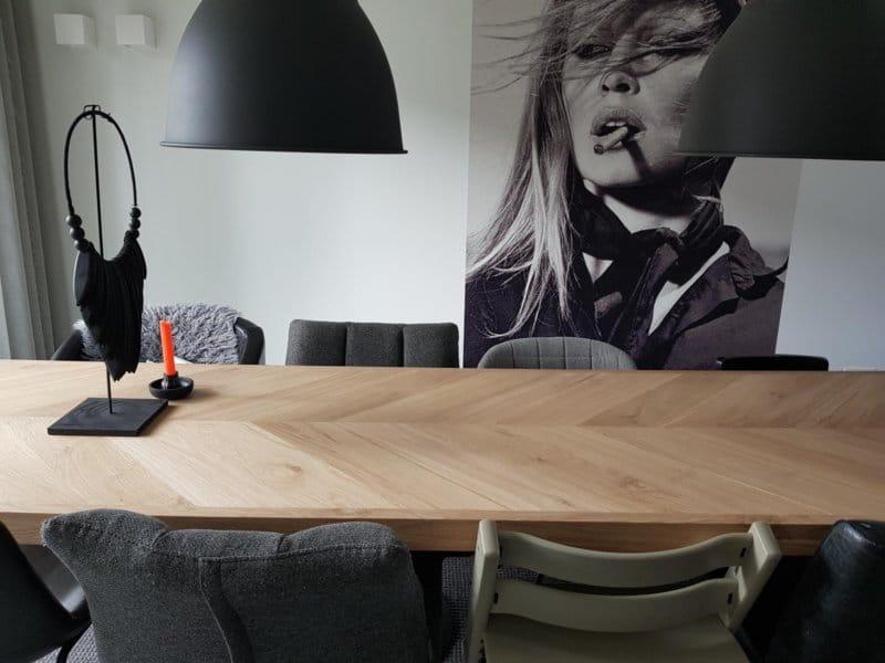 Visgraat eiken Osla X tafel 6 of 8cm dik incl X onderstel naar keuze
