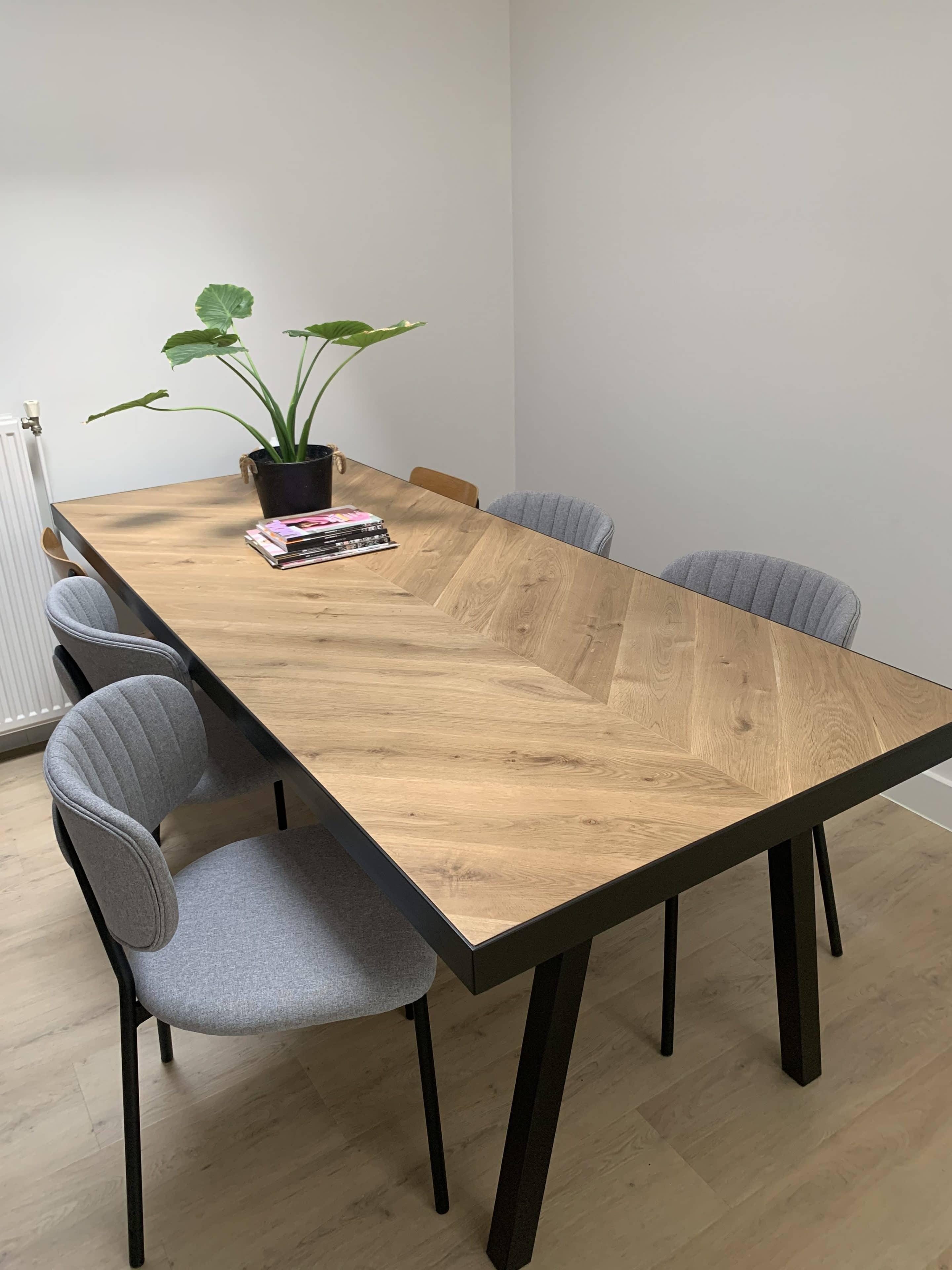 oak herringbone table