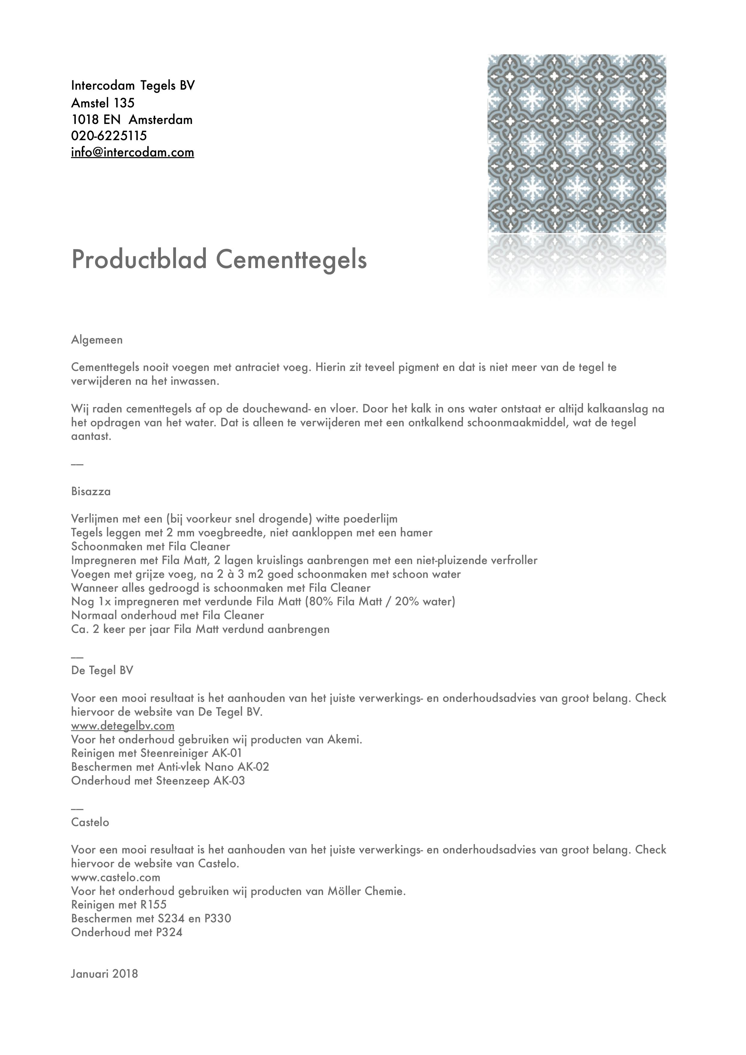 Productblad Cementtegels