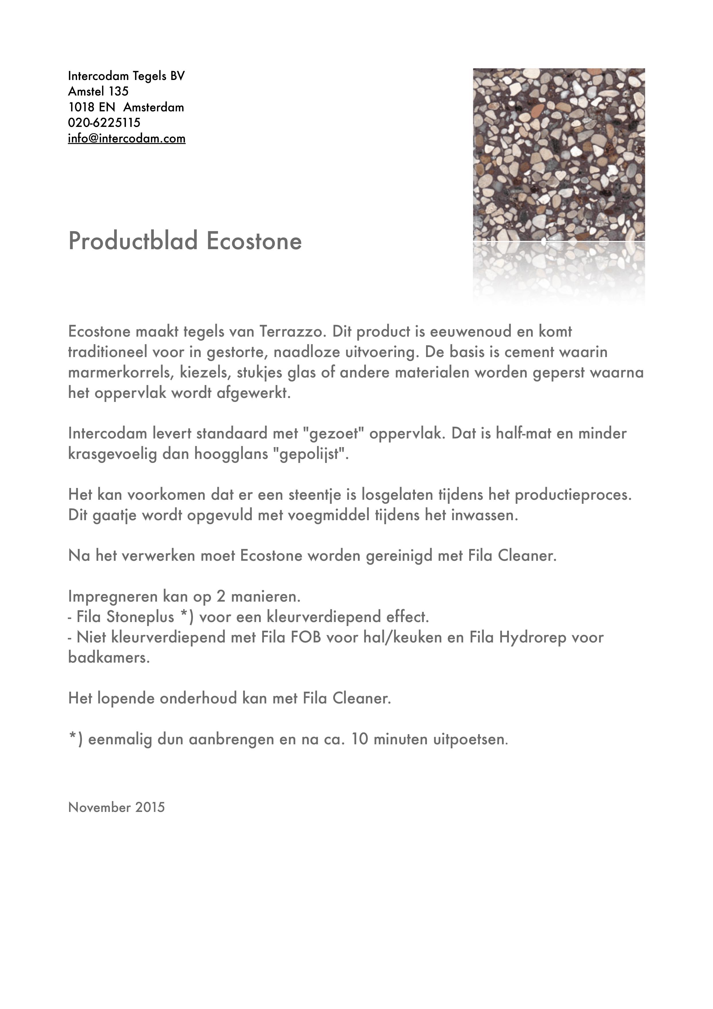 Productblad Ecostone