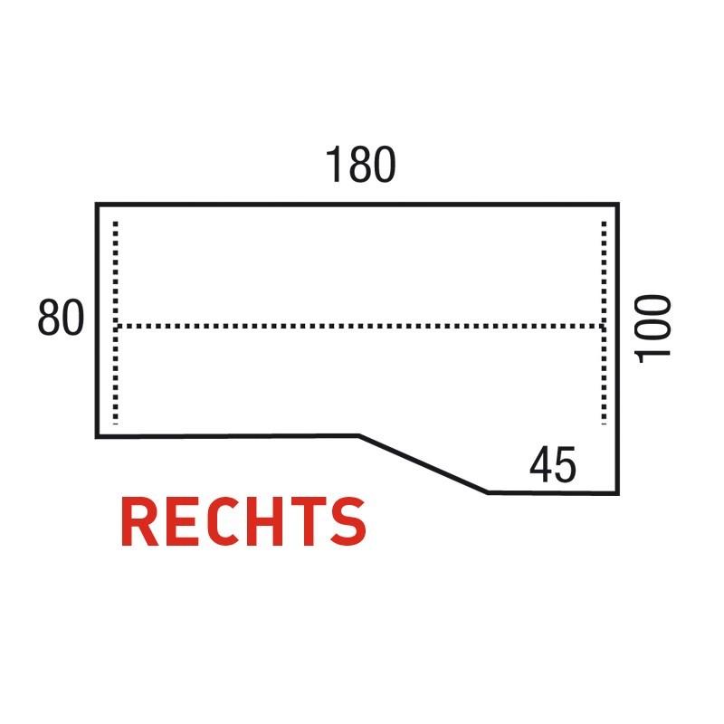Bureau Pinta Alpha 180x80 / 100x45 cm Rechts