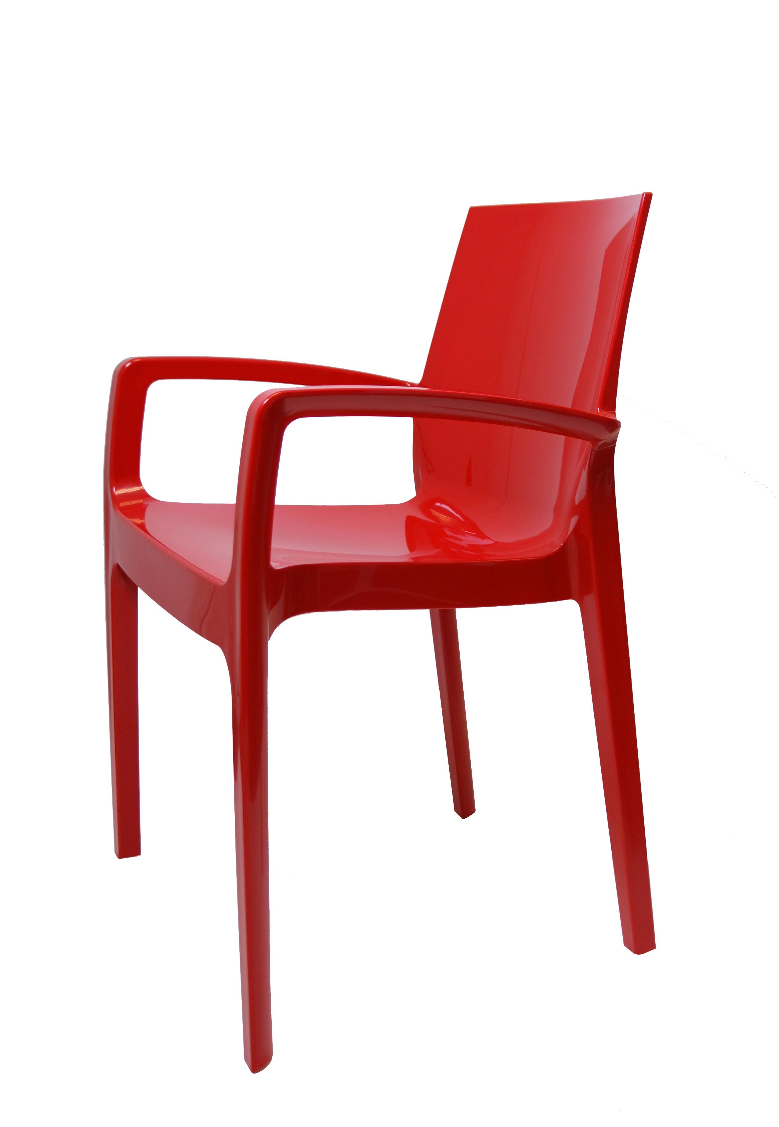 Kunststof stoel glossy armleggers rood