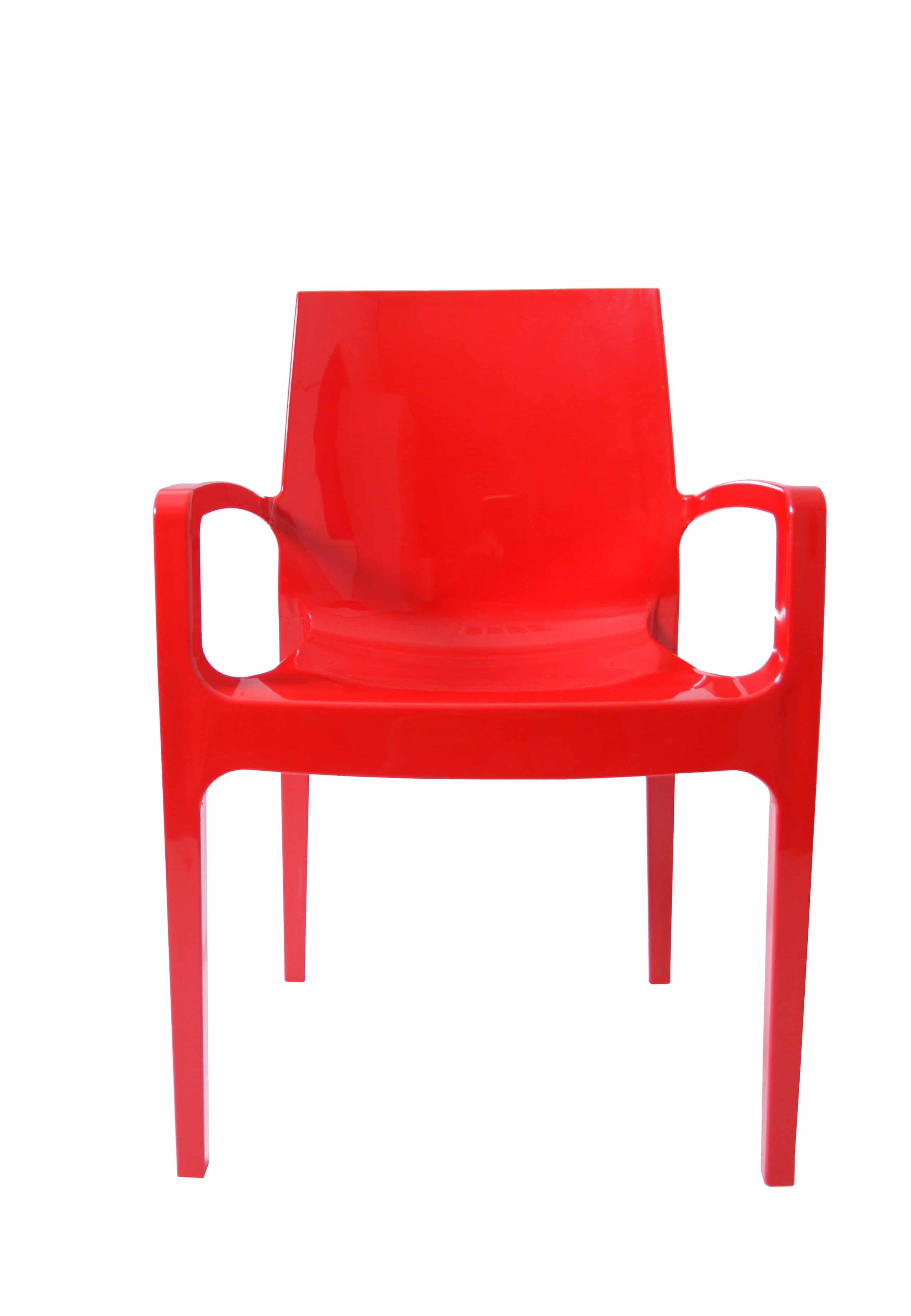 Kunststof stoel glossy armleggers rood front