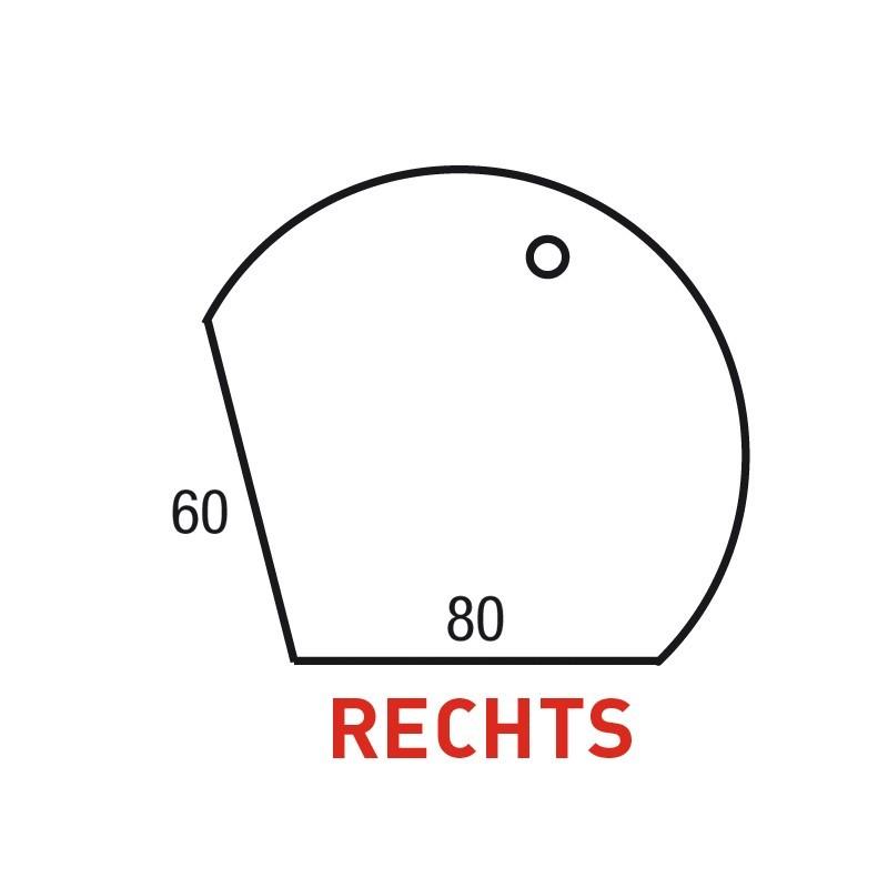 Aanbouwdruppel Pinta 80x60 cm Rechts