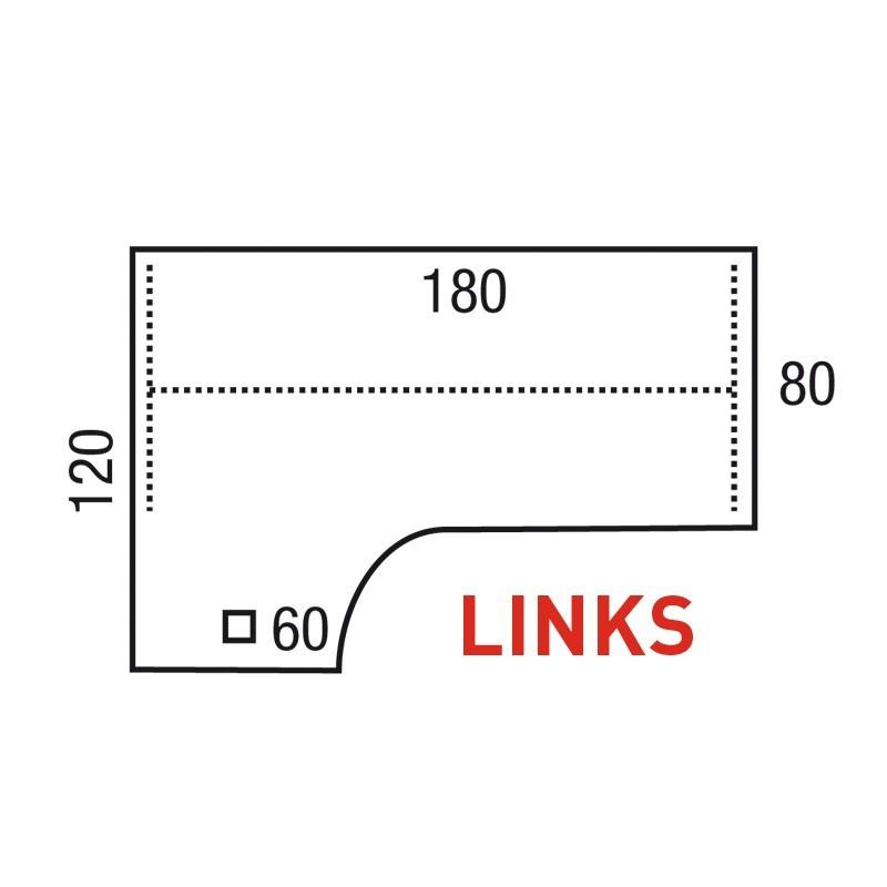 Bureau Pinta Wing 180x120 cm Links