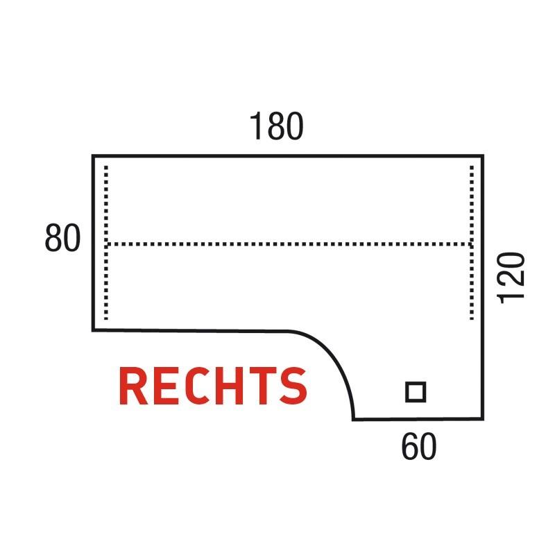 Bureau Pinta Wing 180x120 cm Rechts